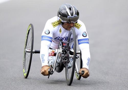 На фото: Алессандро Дзанарди во время подготовки к Паралимпийским игрм в Лондоне к соревнованиям на ручных велосипедах.