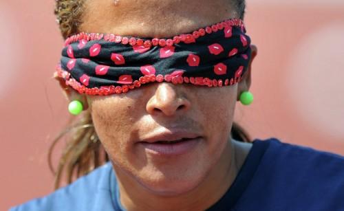 На фото: Терезинья Гильермина принимает участие в соревнованиях в международном чемпионате среди паралимпийцев в Манчестере.
