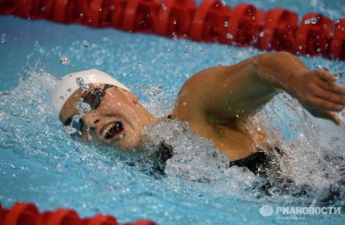 На фото: российская спортсменка Оксана Савченко в финальных соревнованиях по плаванию на дистанции 400 м вольным стилем на ХIV летних Паралимпийских играх в Лондоне.