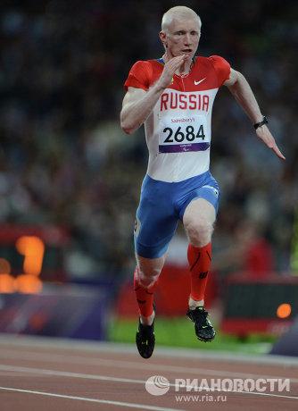 На фото: Федор Триколич во время забега на 100 метров на соревнованиях по легкой атлетике на ХIV летних Паралимпийских играх в Лондоне. Федор Триколич завоевал золотую медаль.