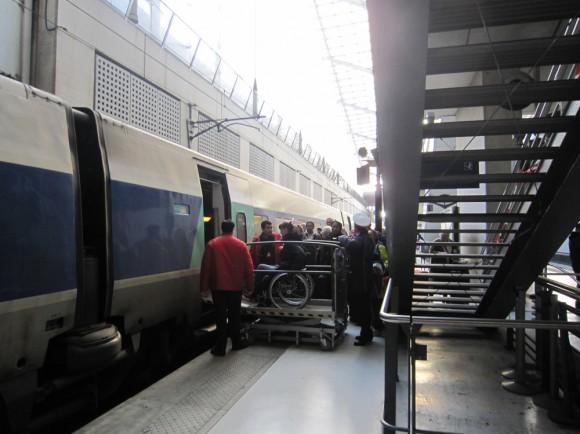 Посадка в поезд.
