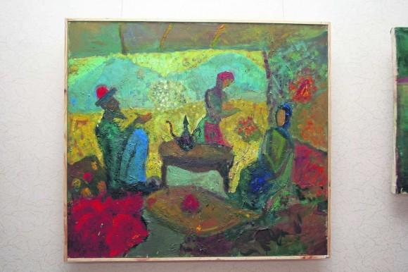 Чаепитие. Своим картинам Мустафа придает национальный колорит. Фото: Д. Ахметов