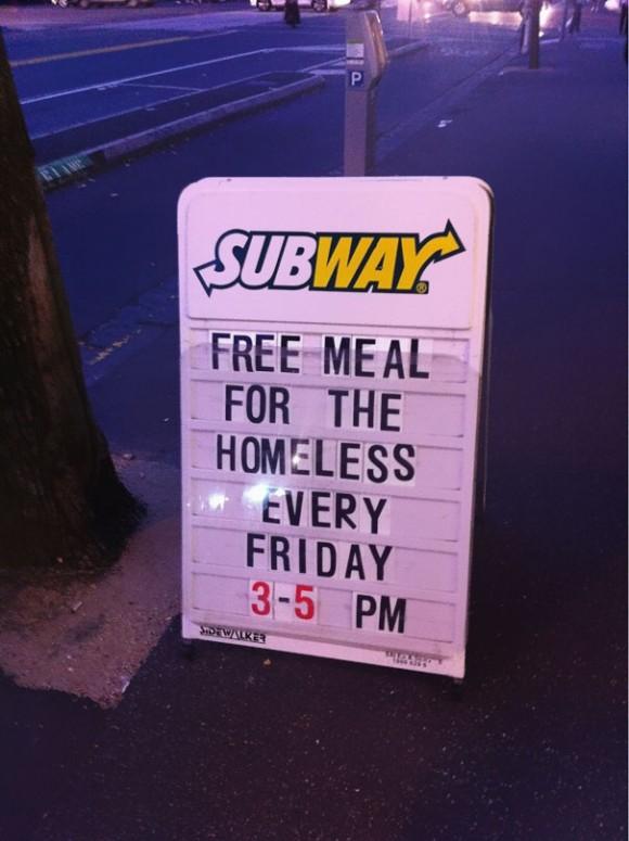 Бесплатные обеды для бездомных.