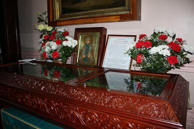 Рака с мощами святой Марии Гатчинской в Павловском соборе (г. Гатчина).