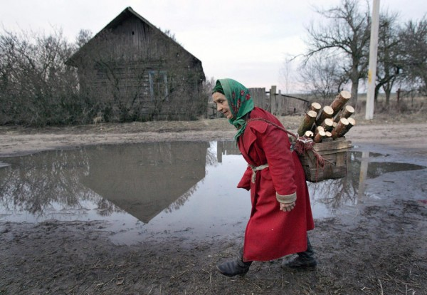 A local resident walks in the Belarussia