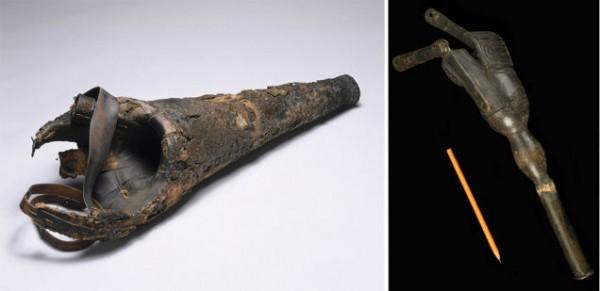 Слева — деревянный протез ноги, который изначально был предназначен для использования в течение двух недель, но в итоге использовался и неоднократно ремонтировался своим владельцем-кровельщиком в течение 40 лет. Справа — отец смастерил эту конечность для 3 -летнего сына в 1903 году, возможно, из деревянной ножки стула. Изображения любезно предоставлены  Музеем науки / SSPL.