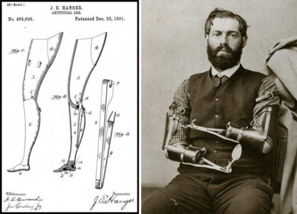 Слева — один из ранних патентов Джеймса Хангера (JamesHanger)от 1891 года, показывает его новый шарнирный механизм протеза. Изображение предоставлено Hanger.com. Справа — Самуэль Деккер (SamuelDecker) еще один ветеран, который создал себе механические руки и  впоследствии стал официальным швейцаром в Палате представителей США.