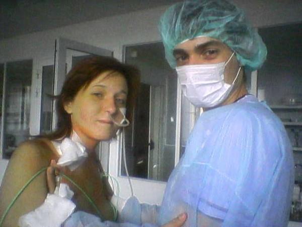 Второй день после пересадки, Ольга с мужем