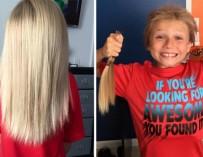 Мальчик 2 года терпел издевательства, чтобы пожертвовать волосы для больных раком