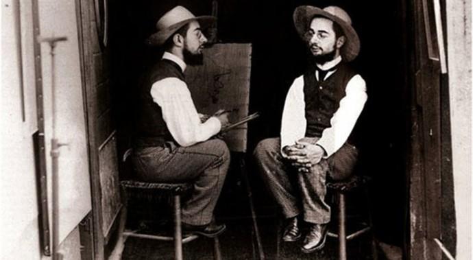 """""""Анри де Тулуз-Лотрек как автор и как модель"""", фотоманипуляция, 1892"""