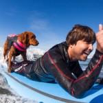 Пес Рикошет занимается серфингом с больными людьми и помогает им вылечиться