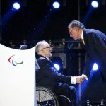 Президент Международного паралимпийского комитета сэр Филипп Крейвен и глава оргкомитета «Рио-2016» Карлос Артур Нузман на церемонии закрытия Игр